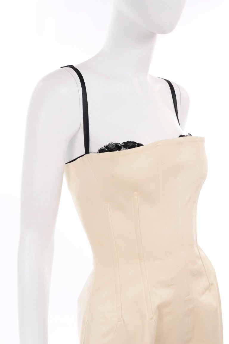 Vintage Dolce & Gabbana Peek A Boo Corset Black Lace Cream Cotton Dress 6