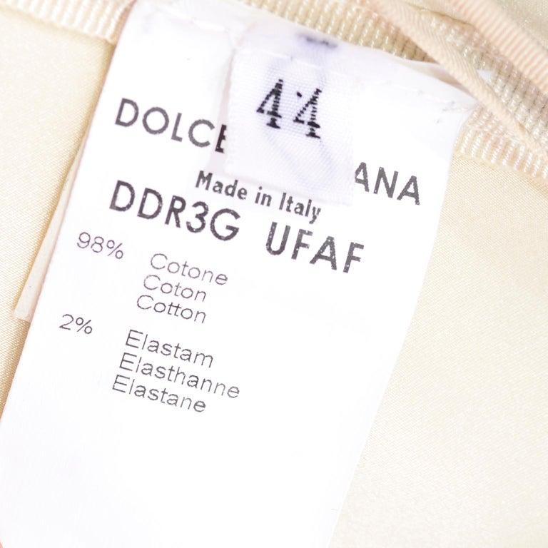 Vintage Dolce & Gabbana Peek A Boo Corset Black Lace Cream Cotton Dress 7