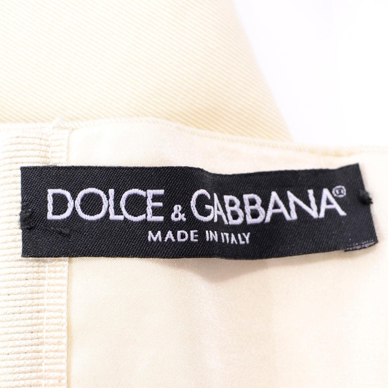 Vintage Dolce & Gabbana Peek A Boo Corset Black Lace Cream Cotton Dress 8