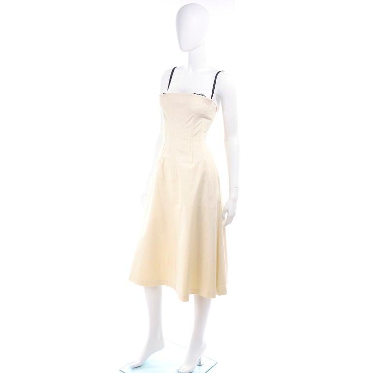 White Vintage Dolce & Gabbana Peek A Boo Corset Black Lace Cream Cotton Dress