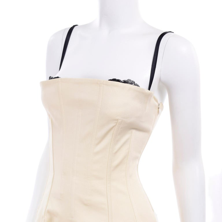 Vintage Dolce & Gabbana Peek A Boo Corset Black Lace Cream Cotton Dress 2
