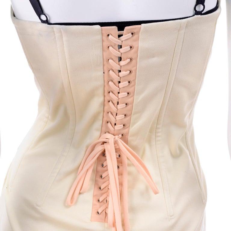 Vintage Dolce & Gabbana Peek A Boo Corset Black Lace Cream Cotton Dress 3