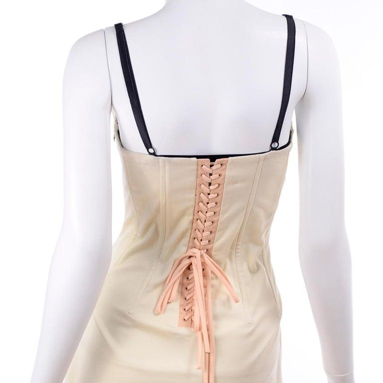 Vintage Dolce & Gabbana Peek A Boo Corset Black Lace Cream Cotton Dress 4