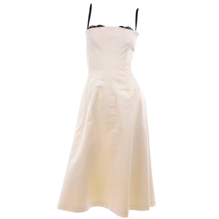 Vintage Dolce & Gabbana Peek A Boo Corset Black Lace Cream Cotton Dress