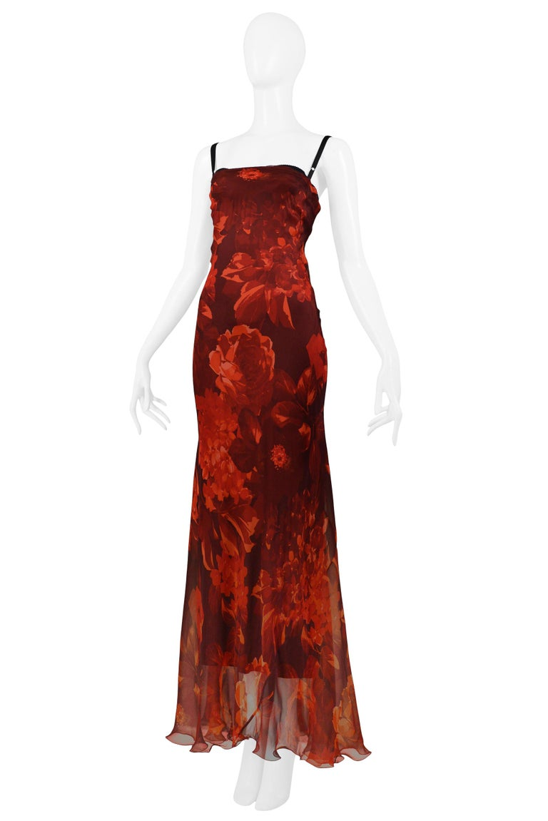 Women's Vintage Dolce & Gabbana Red Floral Silk Evening Gown