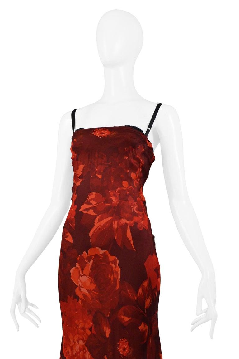 Vintage Dolce & Gabbana Red Floral Silk Evening Gown 1
