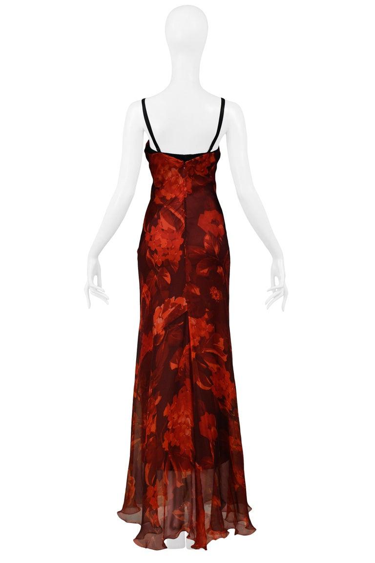 Vintage Dolce & Gabbana Red Floral Silk Evening Gown 2