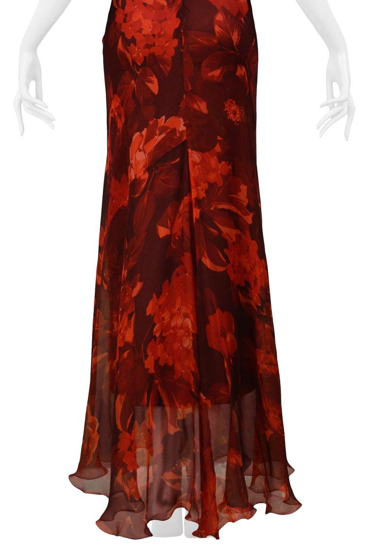Vintage Dolce & Gabbana Red Floral Silk Evening Gown 3