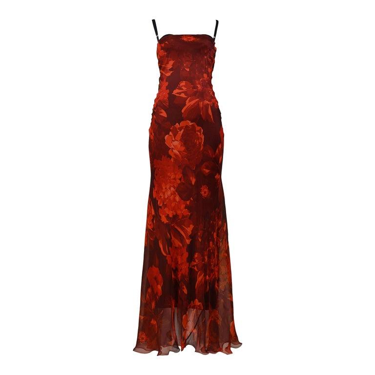 Vintage Dolce & Gabbana Red Floral Silk Evening Gown