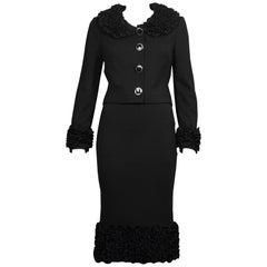 Vintage DOLCE & GABBANA Ruffles Jacket Skirt Suit Ensemble