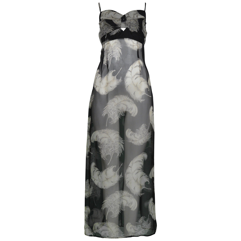 Vintage Dolce & Gabbana Sheer Feather Print Slip Dress 1997
