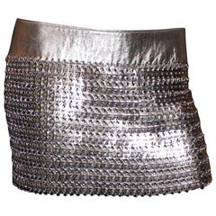 Vintage Dolce Gabbana  Silver Chainmail Metallic Leather Skirt