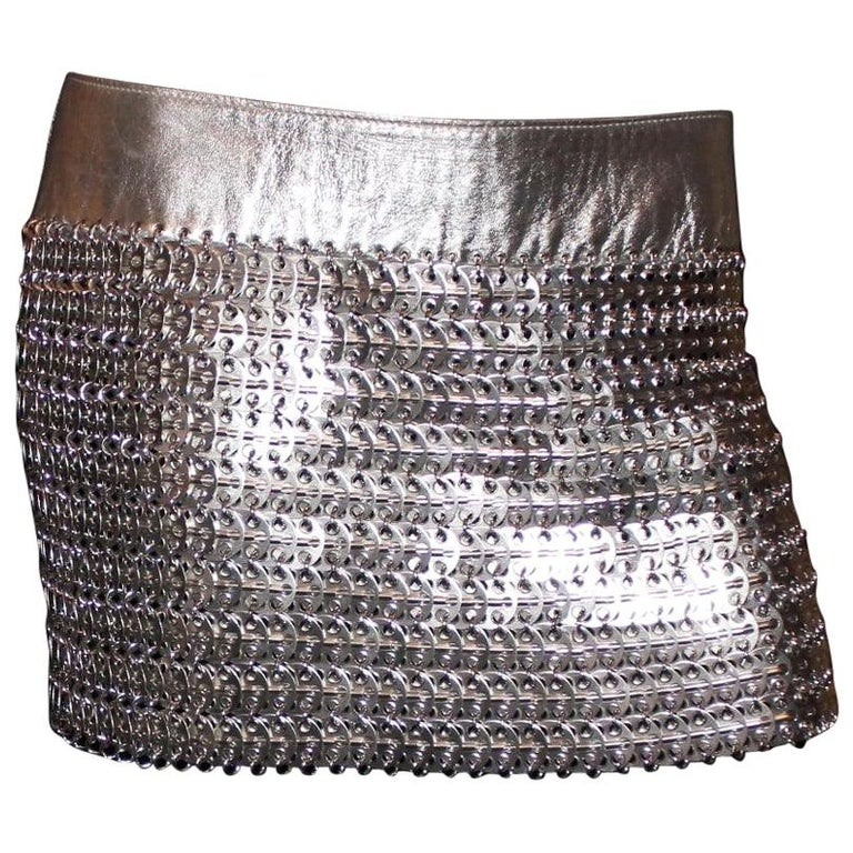 Vintage Dolce Gabbana  Silver Chainmail Metallic Leather Skirt For Sale