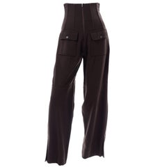 Vintage Dolce & Gabbana Ultra High Corset Waist Brown Wool Trousers Pants