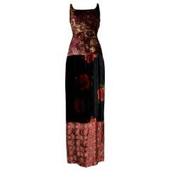 Vintage Dolce & Gabbana Velvet Floral Patchwork Gown