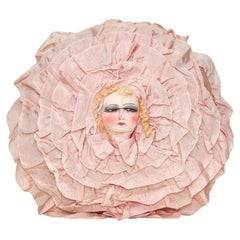 Vintage Dolls Head Nightgown Pillow Cushion Case 1940s Pink Flower