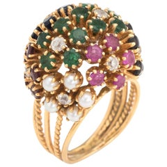 Vintage Dome Cocktail Ring Bombe Flowers 18 Karat Gold Rainbow Gemstones 5
