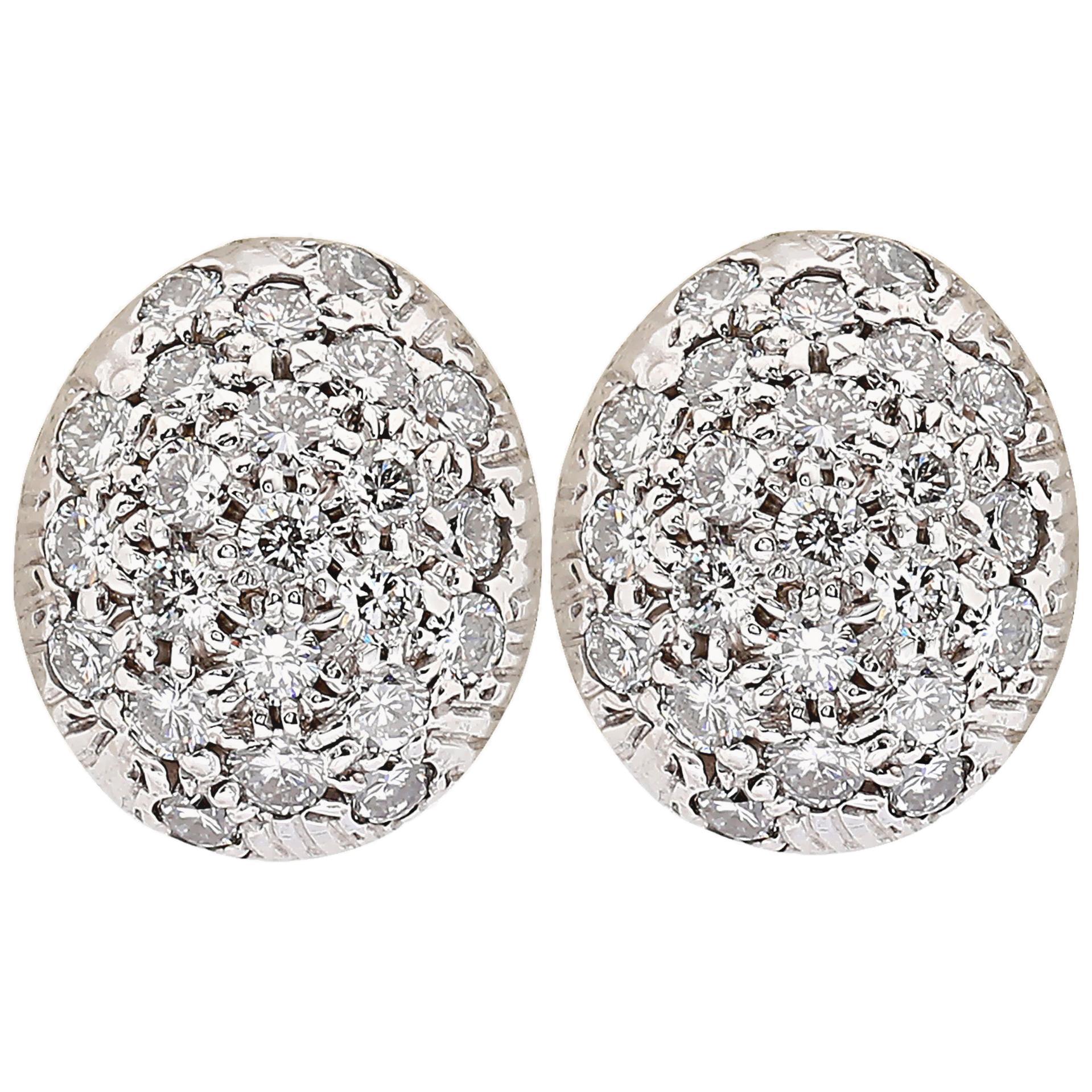 Vintage Dome Diamond Cluster Earrings