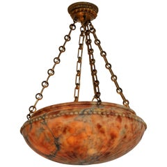 Vintage Dome-Shaped Alabaster Fixture