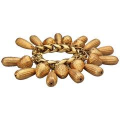 Vintage DOMINIQUE AURIENTIS Acorn and Corn Charm Bracelet