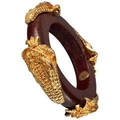 Vintage DOMINIQUE AURIENTIS Gilt Corn Wood Bangle Bracelet