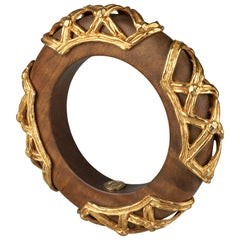 Vintage DOMINIQUE AURIENTIS Gilt Mesh Cage Wood Bangle Bracelet