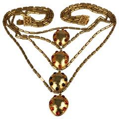 Vintage DOMINIQUE AURIENTIS Jeweled Disks Multi Layer Necklace