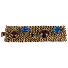 Vintage DOMINIQUE AURIENTIS Jeweled Glass Cabochon Wide Chain Cuff Bracelet