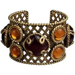 Vintage DOMINIQUE AURIENTIS Jeweled Mesh Cuff Bracelet