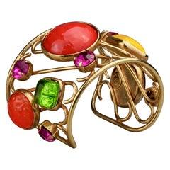Vintage DOMINIQUE AURIENTIS Multi Colour Glass Cabochon Cuff Bracelet