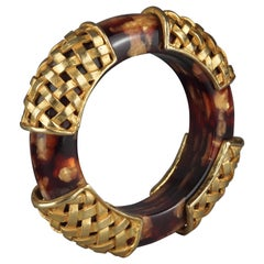 Vintage DOMINIQUE AURIENTIS Tortoiseshell Woven Gilt Bangle Bracelet