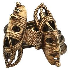 Vintage DOMINIQUE AURIENTIS Tribal Mask Multi Chain Cuff Bracelet