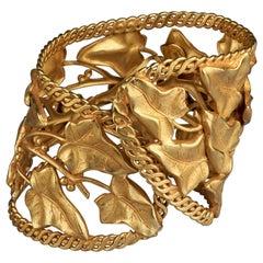 Vintage DOMINIQUE AURIENTIS Vine Leaves Wide Cuff Bracelet