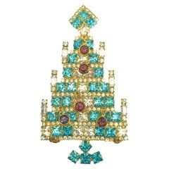 Vintage Dominique Large Jewelled Christmas Tree Brooch 1980s