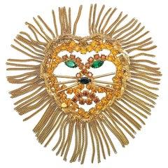 Vintage Dominique Lion Tassel Mane Brooch 1960s