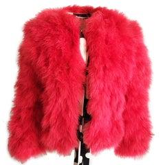 Vintage Donald Brooks Marabou Feather Jacket Short Duster Size M 70s