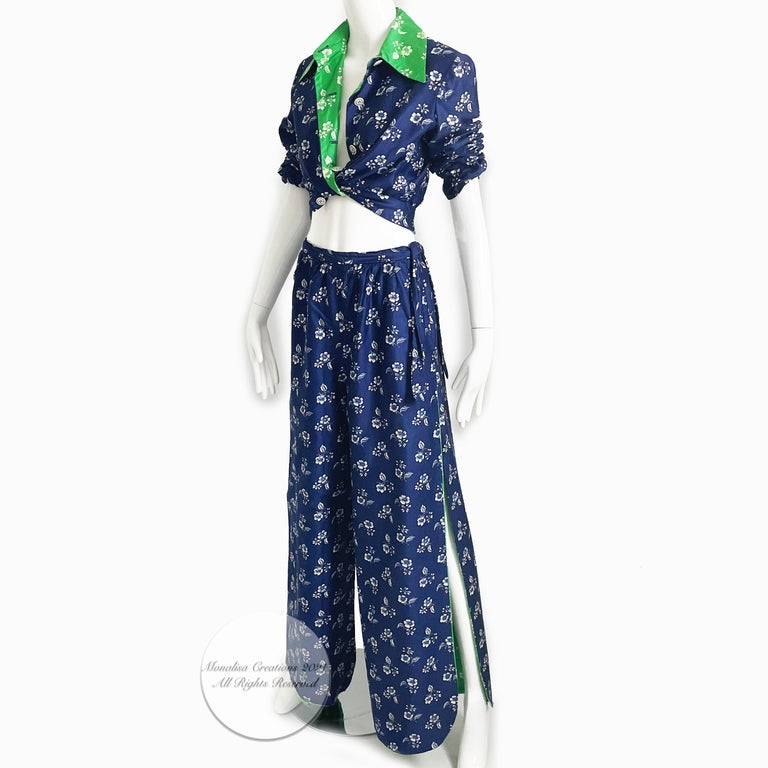 Vintage 70s Donald Brooks Floral Print Palazzo or Wide Leg Pantsuit, 2pc set.  Perfect for your summer soirees! No content label; feels like cotton (sateen)/dry clean only. Button down jacket with blue floral print and contrast green floral