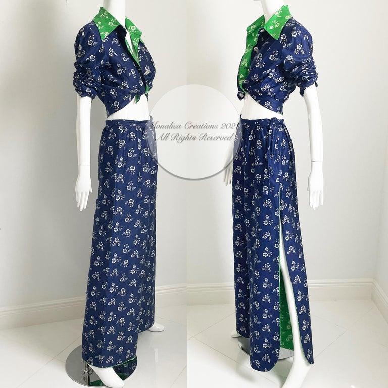 Women's Vintage Donald Brooks Palazzo Pantsuit 2pc Set Jacket & Wide Leg Pant 70s S For Sale