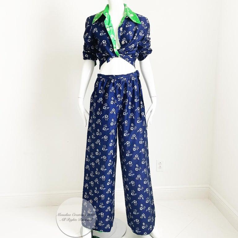 Vintage Donald Brooks Palazzo Pantsuit 2pc Set Jacket & Wide Leg Pant 70s S For Sale 2