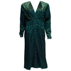 Vintage Donald Campbell Green Silk Dress