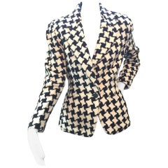 Vintage Donna Karan DKNY Wool Houndstooth Ladies Jacket