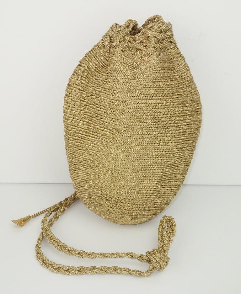 Vintage Donna Karan Gold Mesh Evening Handbag For Sale 1