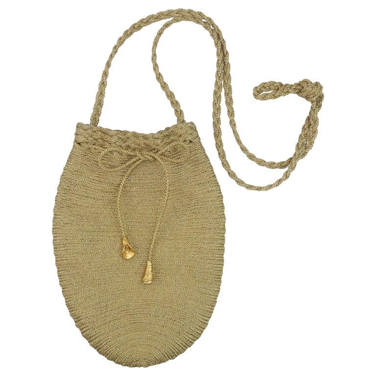 Vintage Donna Karan Gold Mesh Evening Handbag For Sale