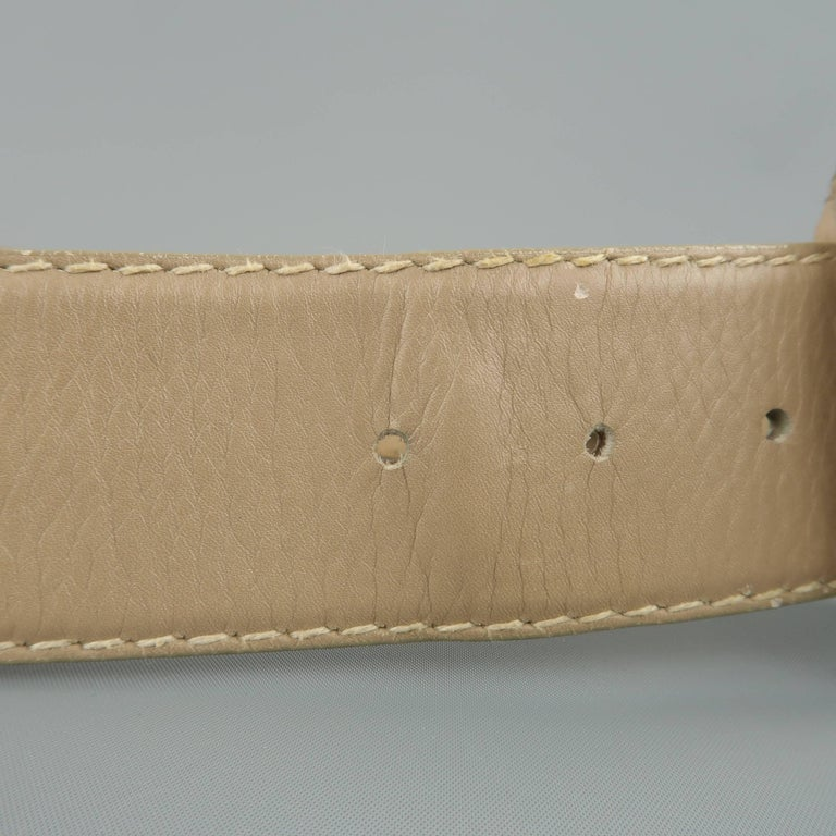 Vintage DONNA KARAN Taupe Gray M Leather Covered Buckle Belt In Fair Condition For Sale In San Francisco, CA