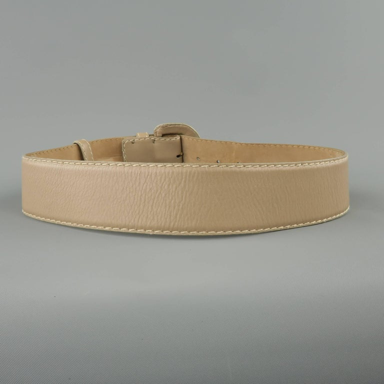 Vintage DONNA KARAN Taupe Gray M Leather Covered Buckle Belt For Sale 2
