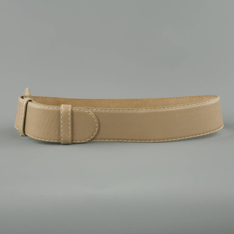 Vintage DONNA KARAN Taupe Gray M Leather Covered Buckle Belt For Sale 3