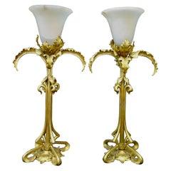 Vintage Doré Bronze and Alabaster Art Nouveau Period Lamps Pair