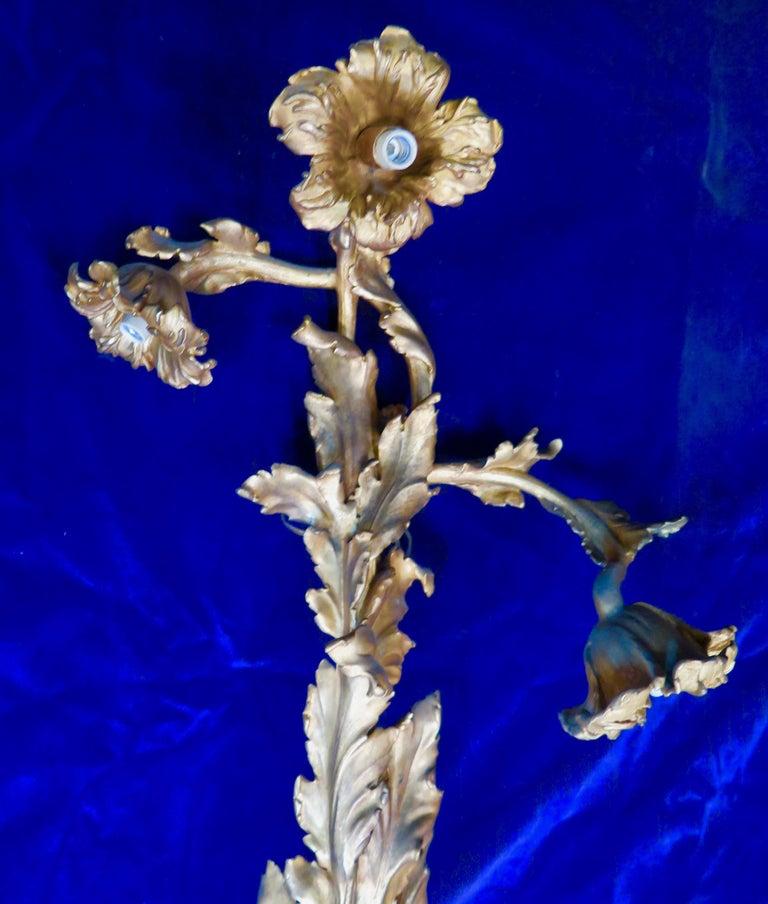 French Vintage Doré Bronze Art Nouveau Sconces For Sale