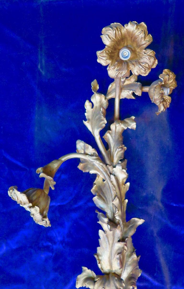 20th Century Vintage Doré Bronze Art Nouveau Sconces For Sale