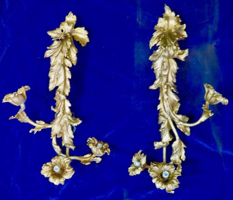Vintage Doré Bronze Art Nouveau Sconces For Sale 2